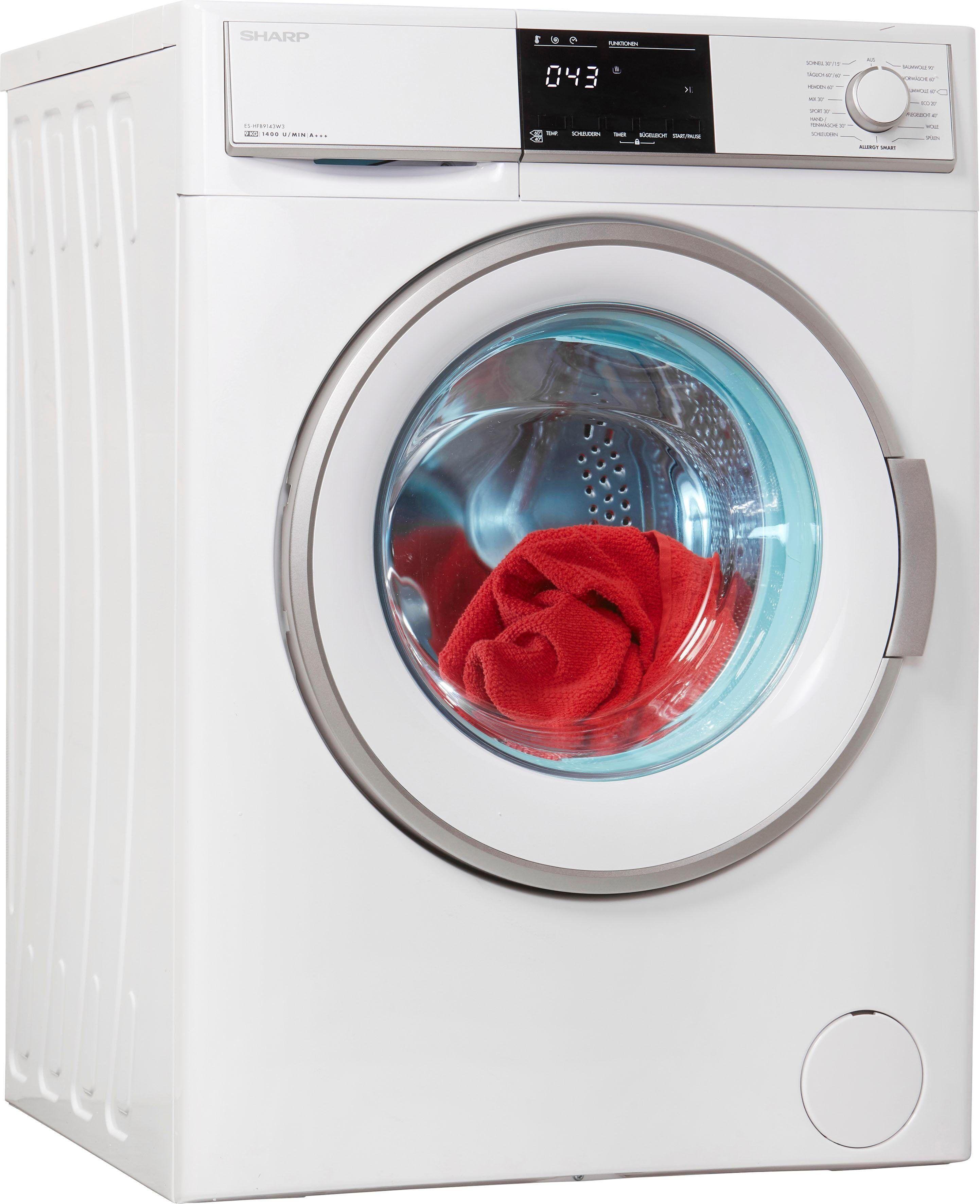 Sharp Waschmaschine ES-HFB9143W3-DE, 9 kg, 1400 U/Min, Energieeffizienzklasse A+++