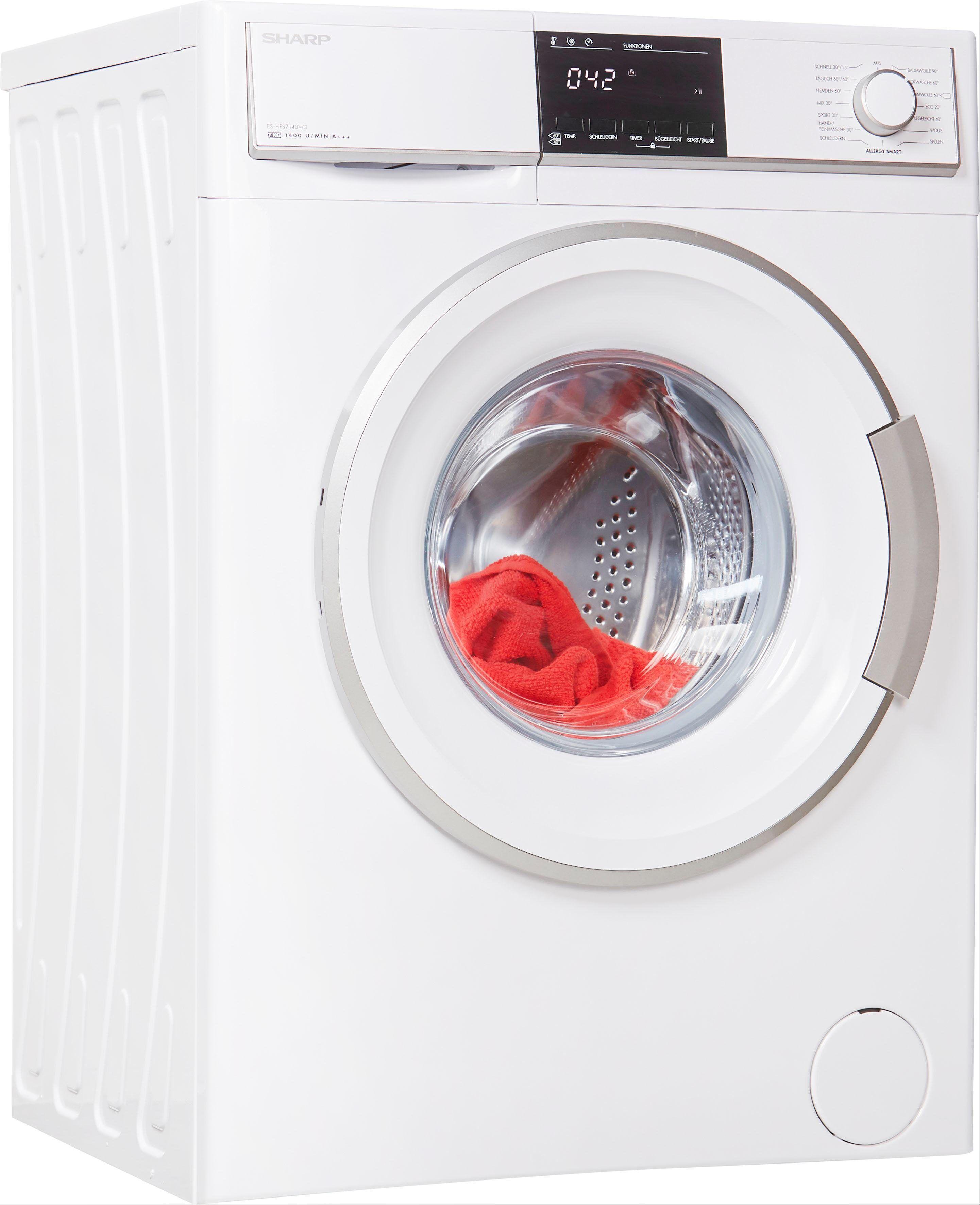Sharp Waschmaschine ES-HFB7143W3-DE, 7 kg, 1400 U/Min, Energieeffizienzklasse A+++