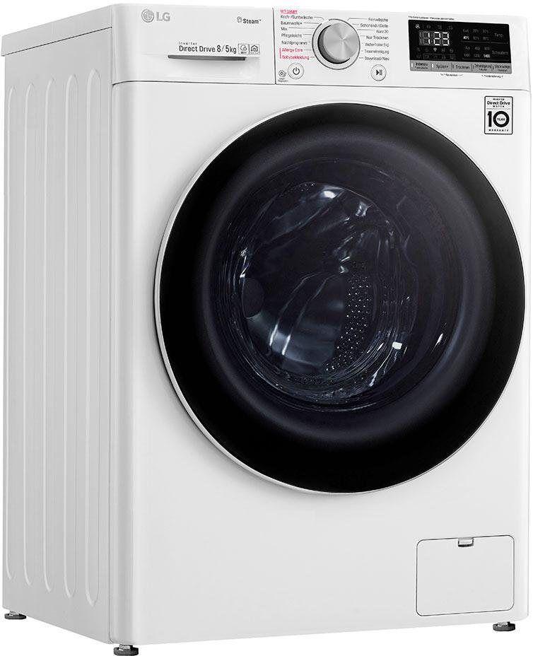 LG Waschtrockner 4 V4 WD 85S1, 8 kg/5 kg, 1400 U/Min, mit Dampftechnologie, Energieeffizienzklasse A