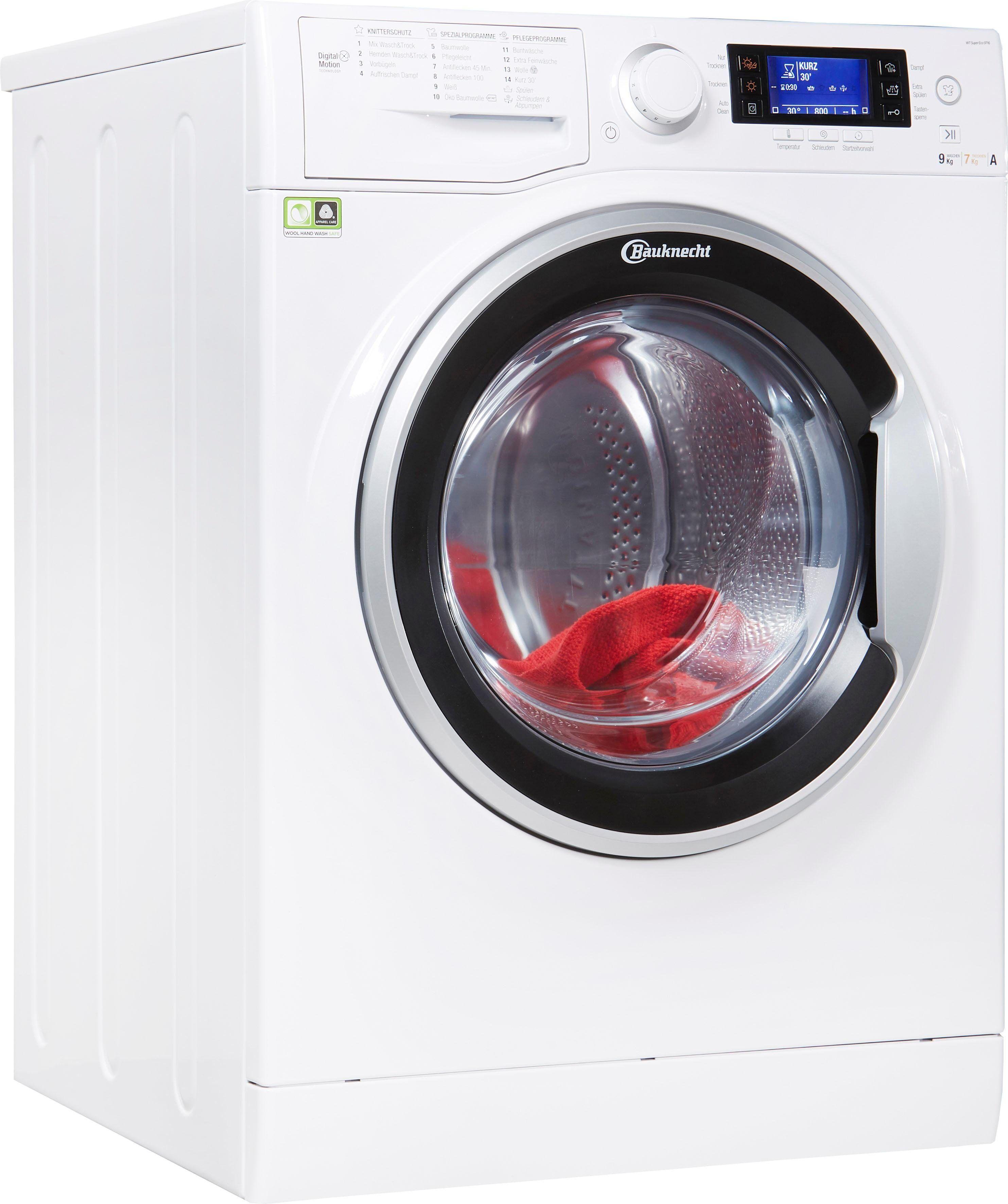 Bauknecht Waschtrockner WT Super Eco 9716, 9 kg/7 kg, 1600 U/Min, 4 Jahre Herstellergarantie, Energieeffizienzklasse A