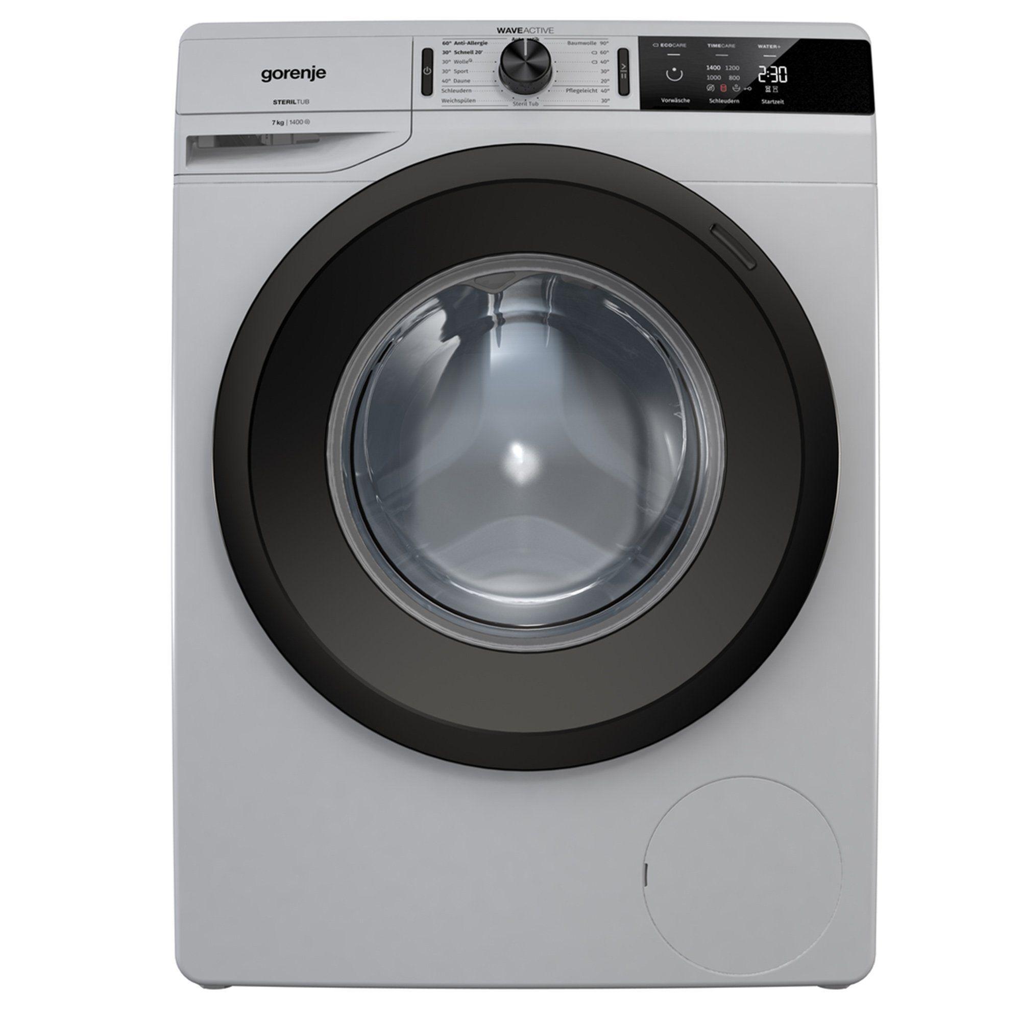 Gorenje Waschmaschine WE 74S3 PA A+++, 7 kg, 1400 U/Min, grau metallic AquaStop, Energieeffizienzklasse A+++