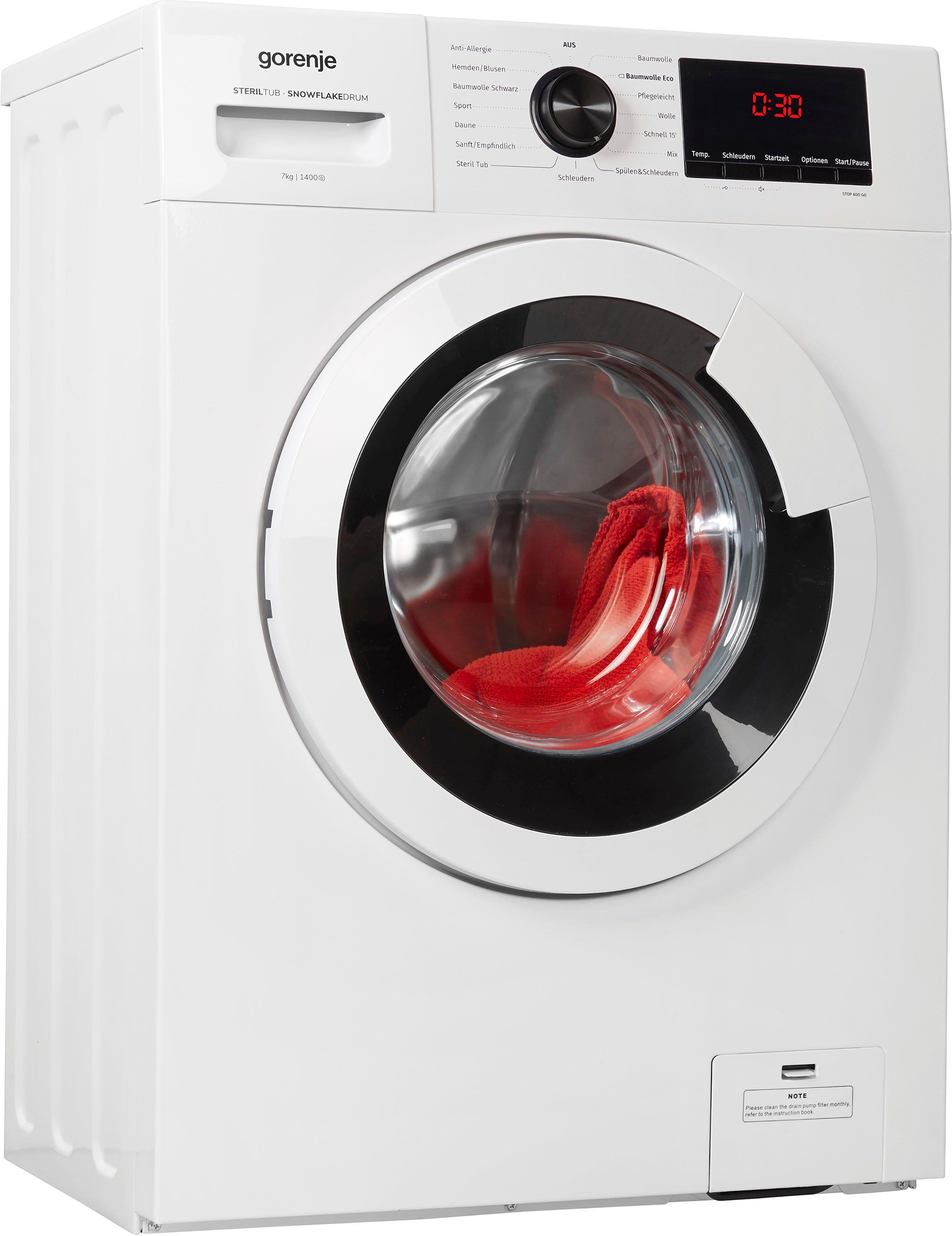 Gorenje Waschmaschine WHE74S3P, 7 kg, 1400 U/Min, Energieeffizienzklasse A+++