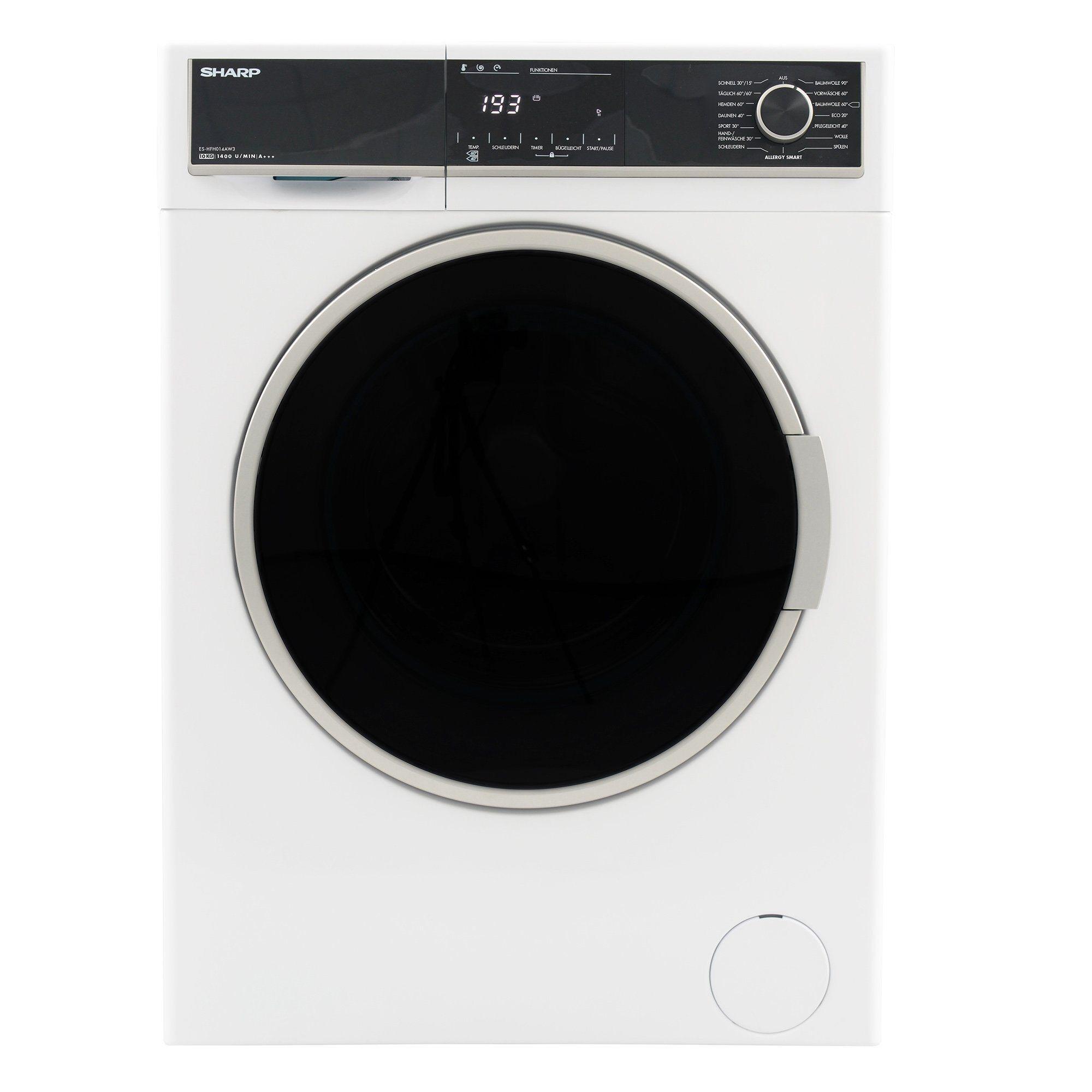 Sharp Waschmaschine ES-HFH014AW3-DE, 10 kg, 1400 U/Min, Energieeffizienzklasse A+++