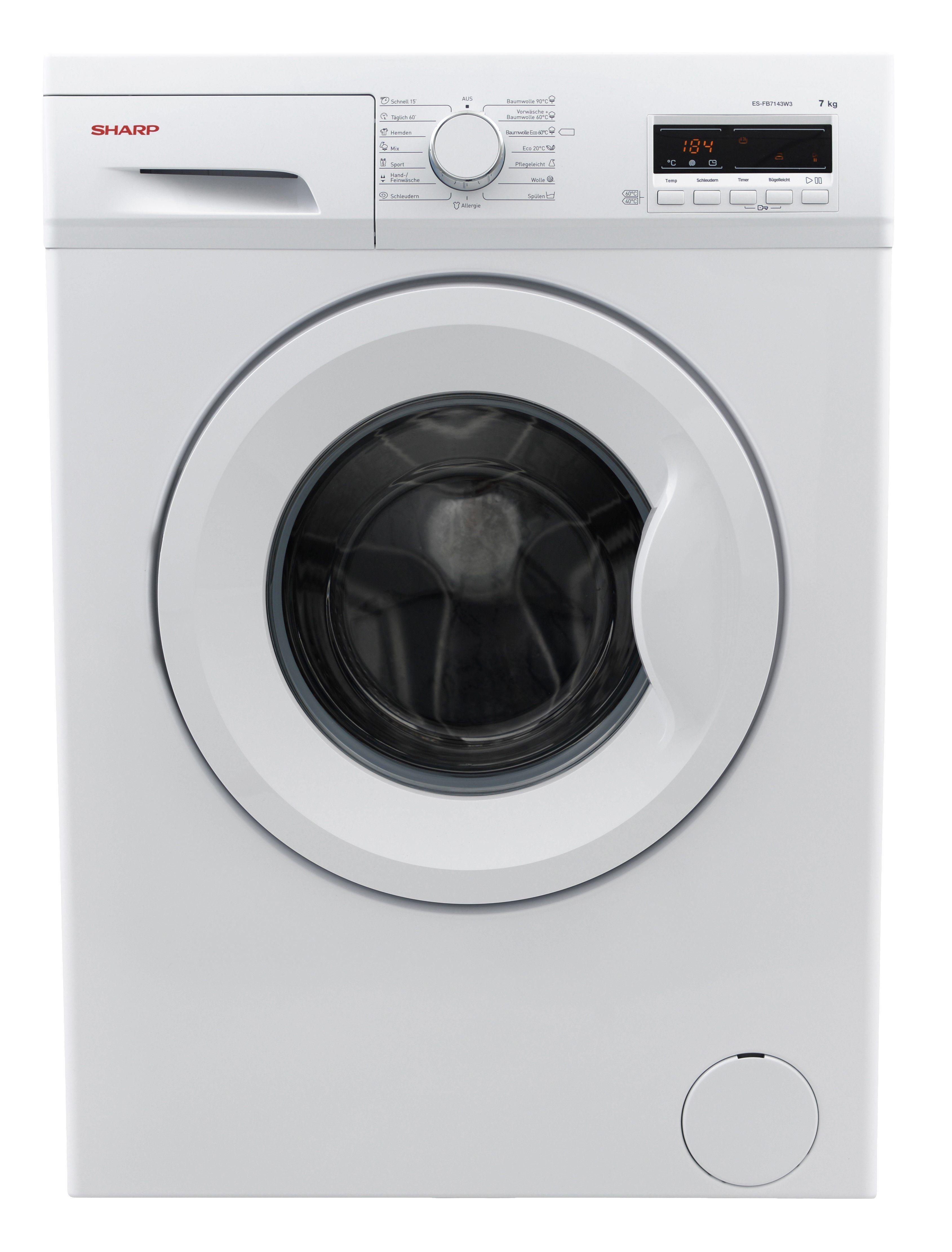 Sharp Waschmaschine ES-FB7143W3A-DE, 7 kg, 1400 U/Min, Energieeffizienzklasse A+++