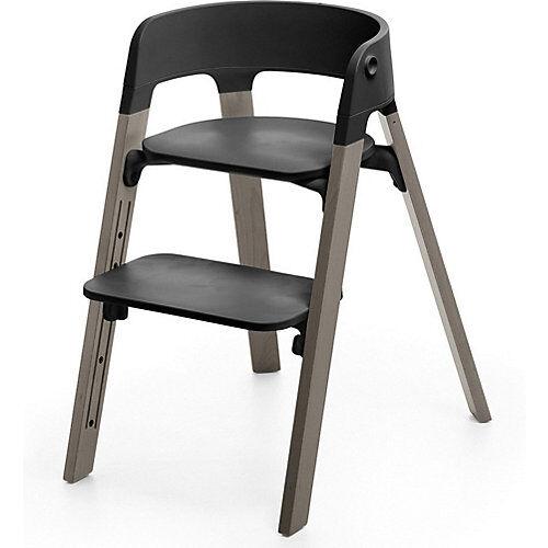 Stokke Steps™ Hochstuhl, Sitz black inkl. Beine Buchenholz, hazy grey grau/braun