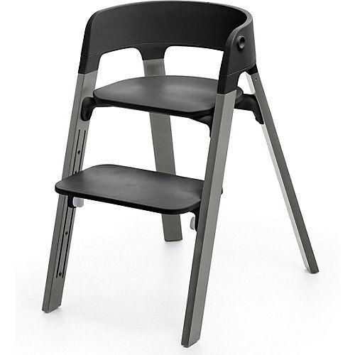 Stokke Steps™ Hochstuhl, Sitz black inkl. Beine Buchenholz, storm grey grau