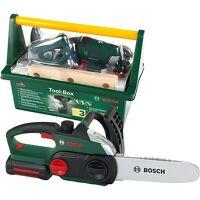 klein bundle bosch werkzeug: tool box mit akkuschrauber + kettensäge ii jungen kinder