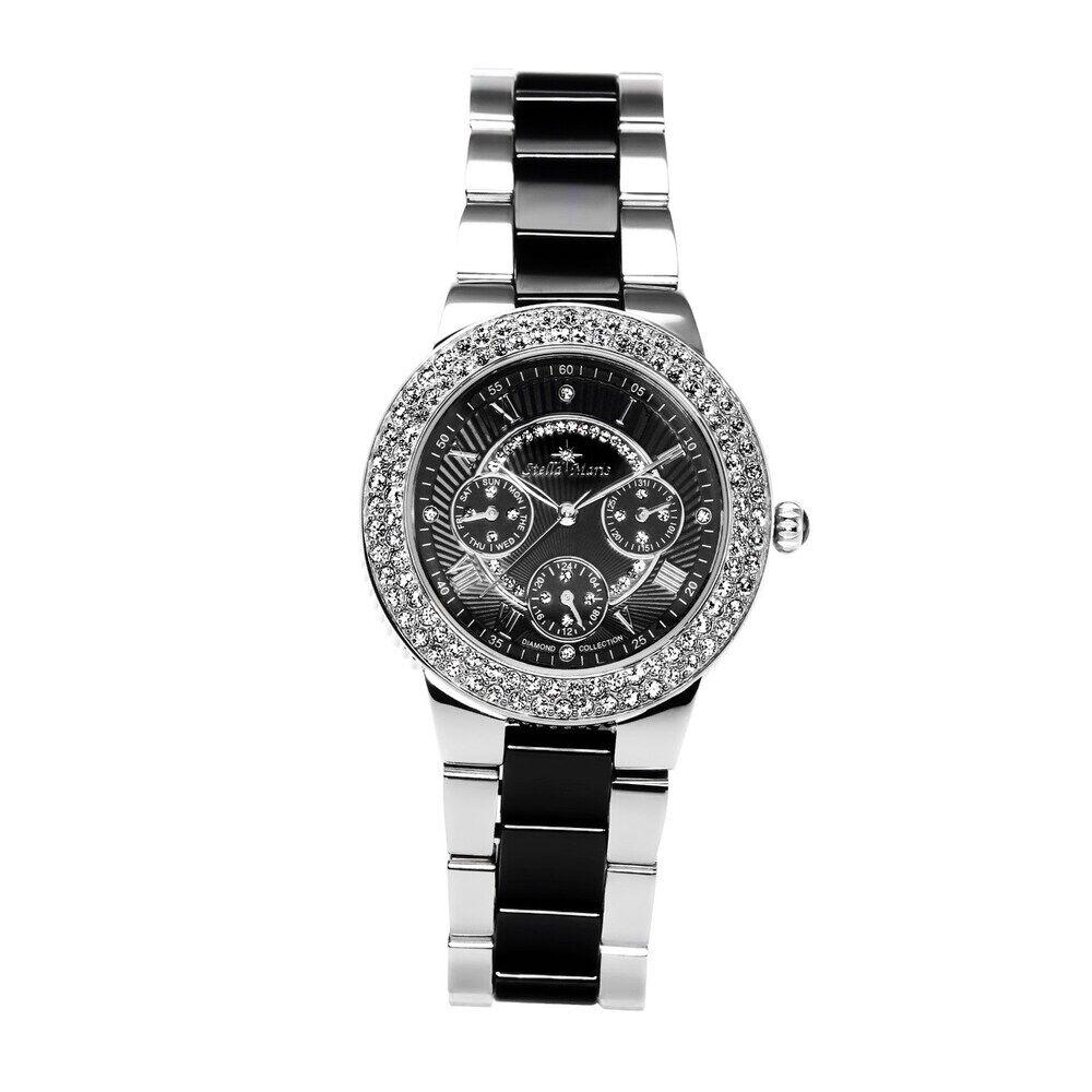 Stella Maris Exclusiv schöne Damenuhr mit Diamantbesatz und Keramikband