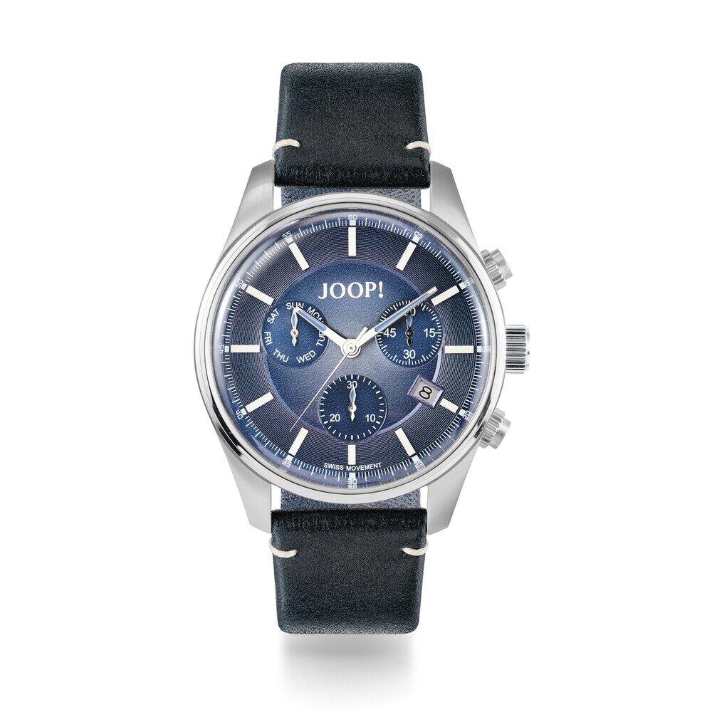 JOOP! JOOP! Chronograph für Herren, Edelstahl mit Lederband, blau, Chronograph