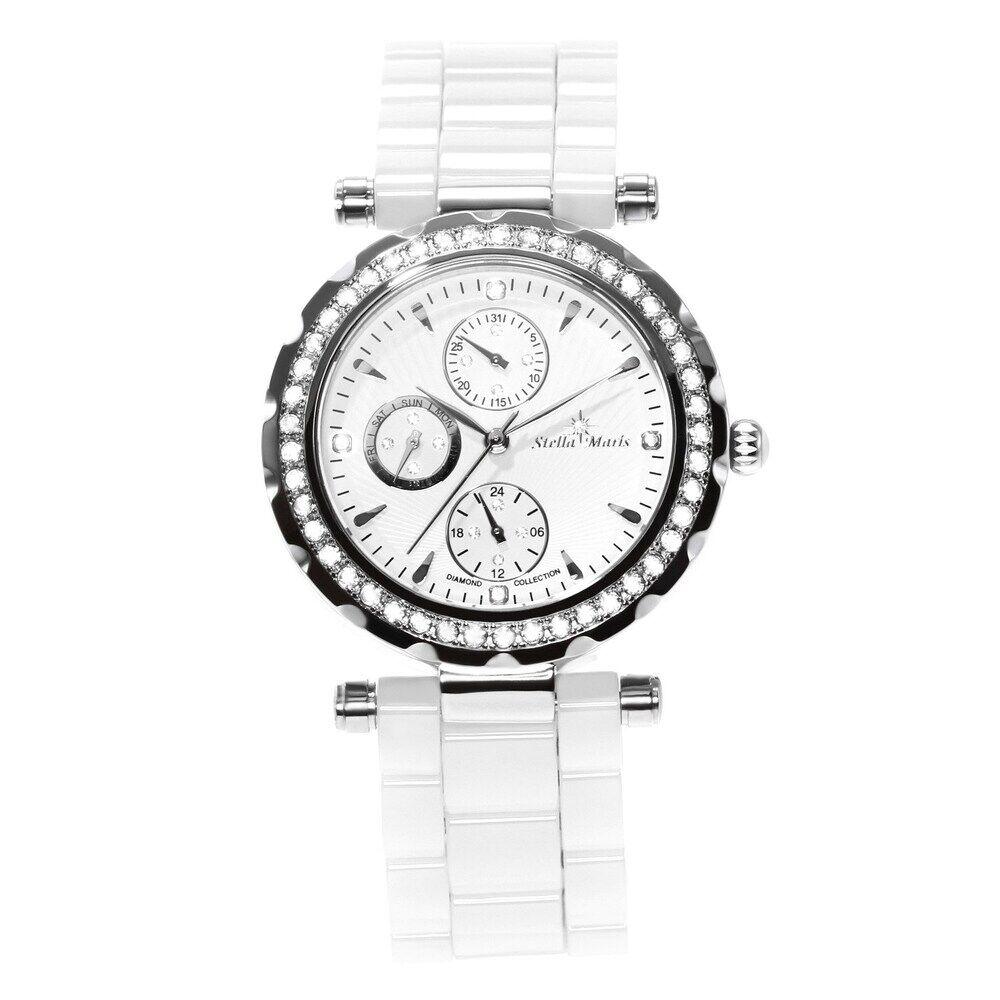 Stella Maris Luxus-Damenuhr mit Diamantbesatz und Keramikarmband