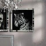 KARE Design Frame Mirror Leopard Glasbild B: 800 H: 800 T: 45 mm, schwarz/silber/klar 35846