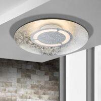 globo lighting matteo led deckenleuchte Ø 35 h: 7,5 cm, silber metallic/weiß 41901-12, eek: a+