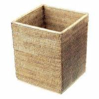 decor walther basket qk papierkorb b: 250 h: 300 t: 250 mm rattan hell 0927391