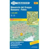 tabacco karte n.051 monte grappa - bassano - feltre - 1:25.000