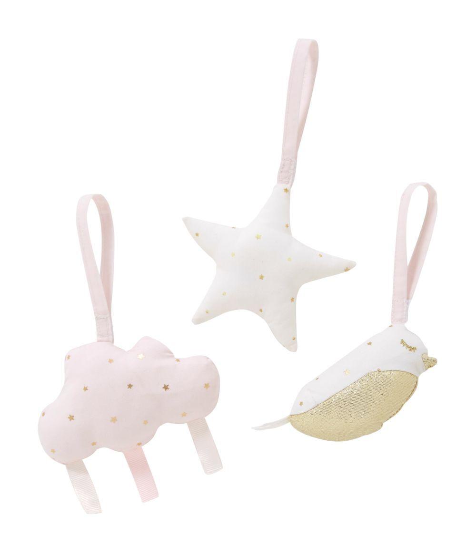 Maisons du Monde Juguetes de estimulación colgantes para bebé en color rosa, dorado y blanco (x3)