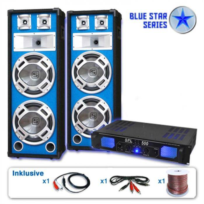 Electronic-Star Serie Blue Star Bassveteran Equipo sonido profesional 1600W