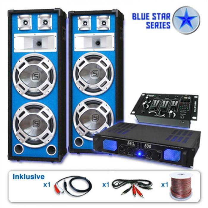 Electronic-Star Serie Blue Star Bassveteran Equipo sonido profesional 1200W USB