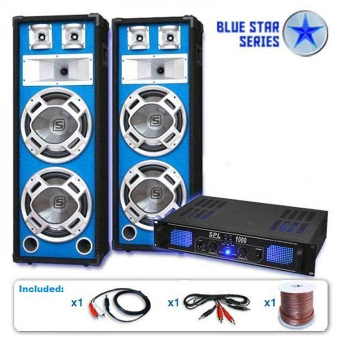 "Electronic-Star Blue Star Series ""Bass Core"" Set Altavoces PA DJ 2600W"