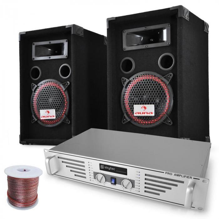 Electronic-Star Set DJ PA Funky Breakbeats con amplificador y altavoces