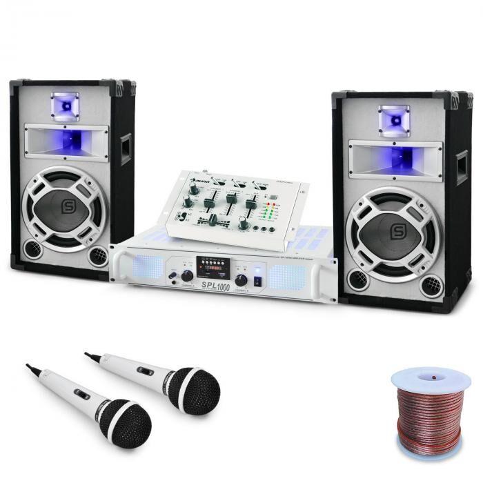 Electronic-Star Set DJ PA 'Wedding Fox' Mesa mezclas Amplificador Altavoces