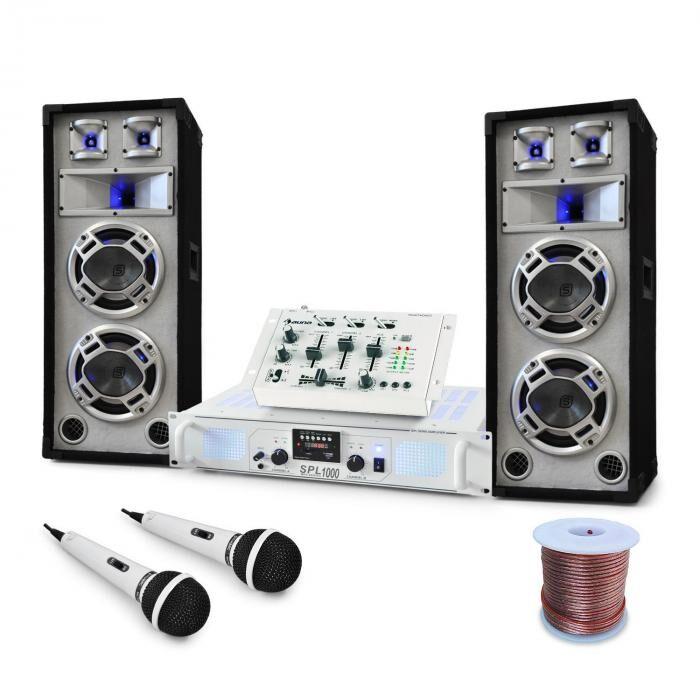 Electronic-Star Equipo DJ PA ''Polar Bear'' Mesa de mezclas Altavoces amplificador 2200W