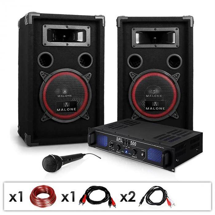 Electronic-Star DJ-14 Equipo de sonido profesional 2x 250W Amplificador, altavoces y micrófono