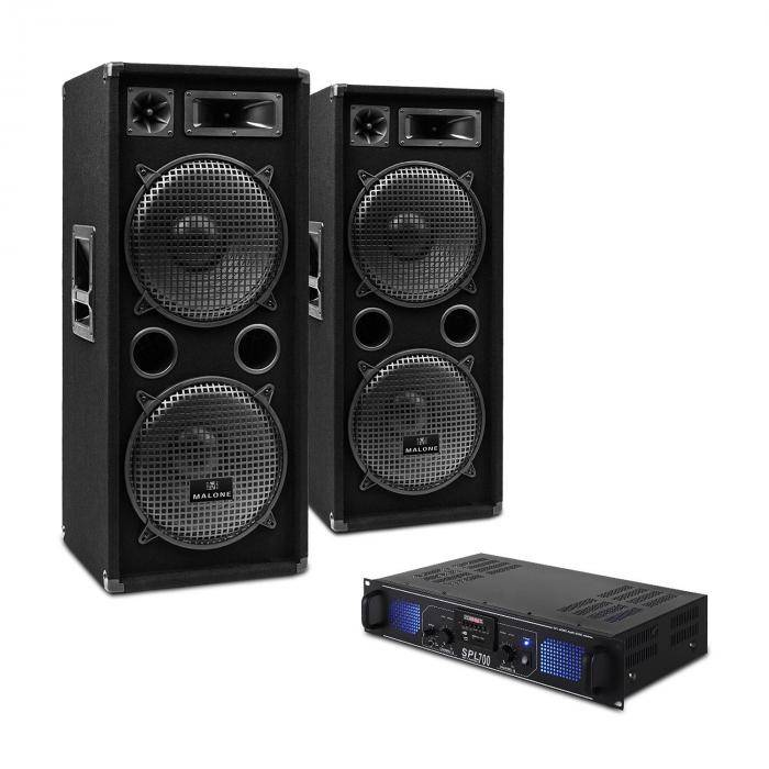 """Electronic-Star """"DJ-20"""" Equipo PA AmplificadorAltavoces Cables 2000W"""