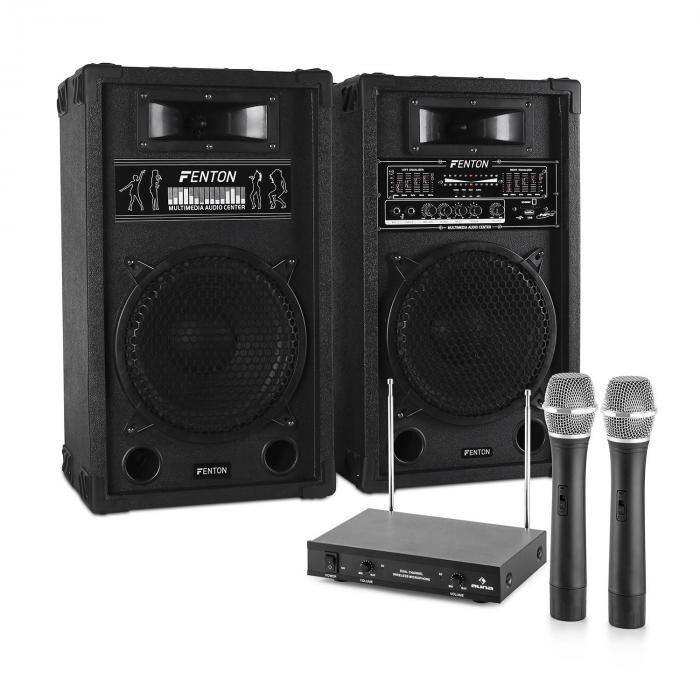 Electronic-Star Sistema de karaoke STAR-10 Set de altavoces PA activos   Set de micrófonos inalámbricos VHF de 2 canales