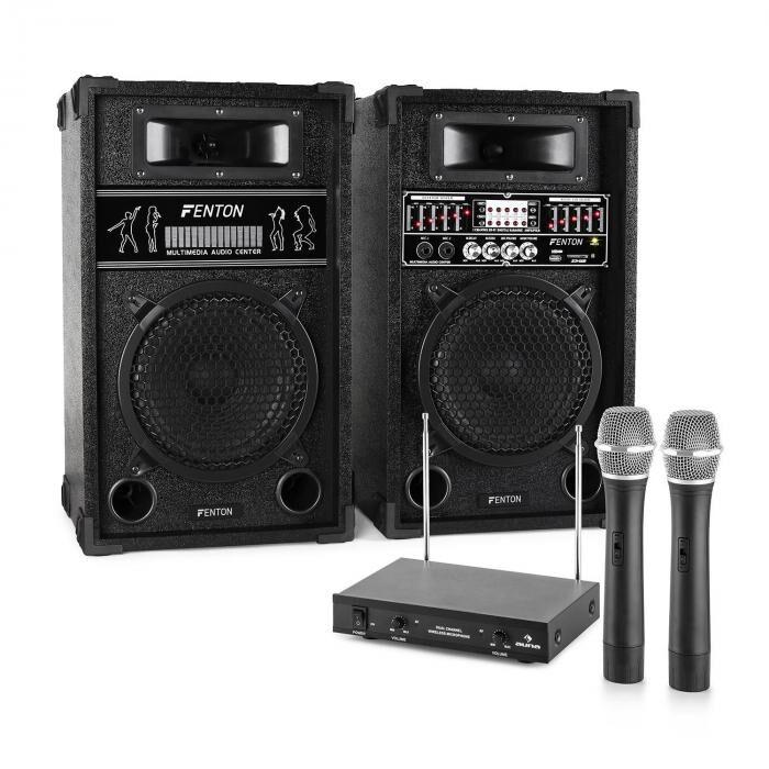 Electronic-Star Sistema de karaoke STAR-8 Set de altavoces PA activos   Set de micrófonos inalámbricos VHF de 2 canales