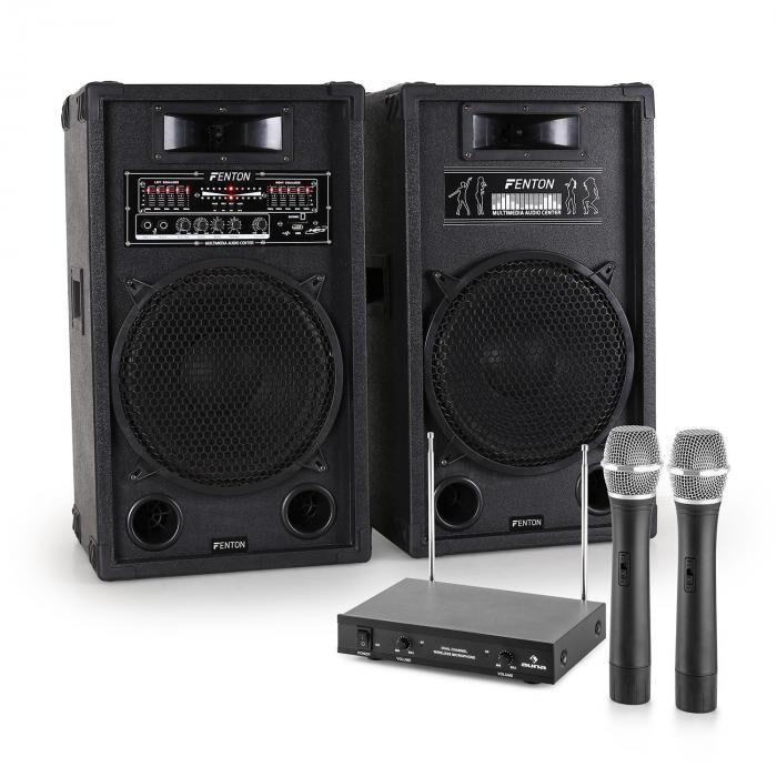 Electronic-Star Sistema de karaoke STAR-12 Set de altavoces PA activos   Set de micrófonos inalámbricos VHF de 2 canales