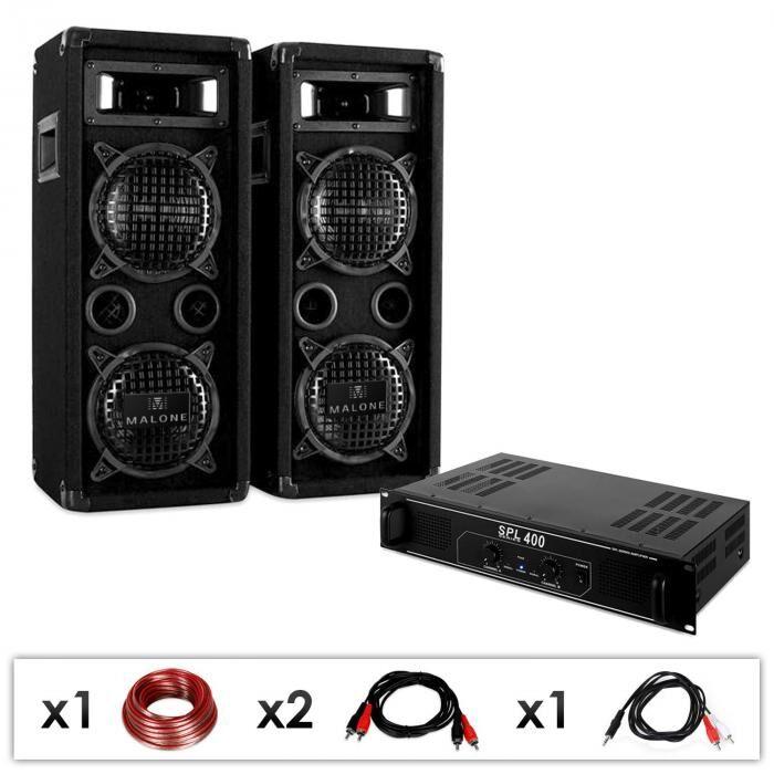 Electronic-Star Equipo PA DJ 'DJ-24' 1200W Amplificador Altavoces