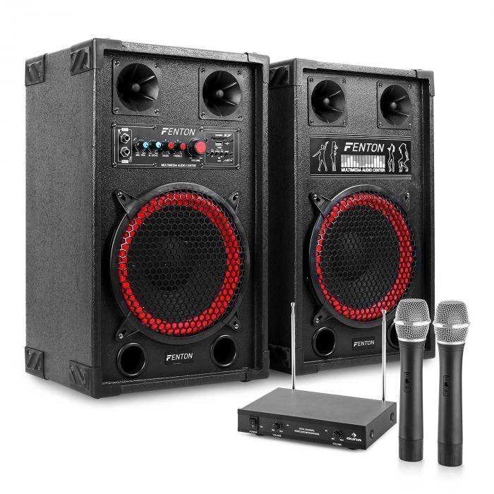 "Electronic-Star Sistema de karaoke ""STAR-Neukölln"" Altavoces PA 600W   Set de micrófonos inalámbricos VHF de 2 canales"