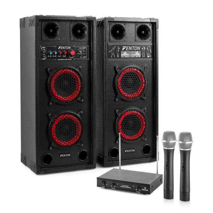 "Electronic-Star Sistema de karaoke ""STAR-Wedding"" Altavoces PA 800W   Set de micrófonos inalámbricos VHF de 2 canales"
