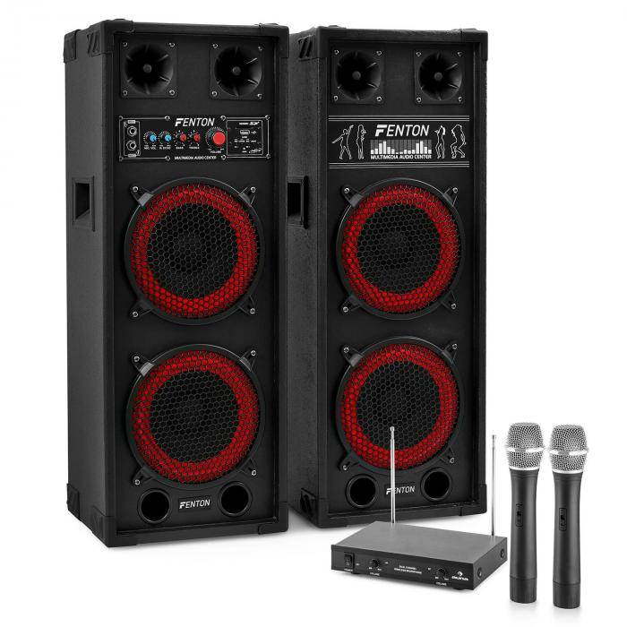 "Electronic-Star Sistema de karaoke ""STAR-Köpenick"" Altavoces PA 800W   Set de micrófonos inalámbricos VHF de 2 canales"