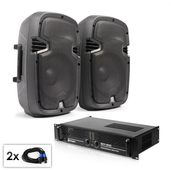 """Electronic-Star Conjunto PA """"SPJ Boom MKII"""" 2 altavoces de 8"""" & amplificador 800W"""