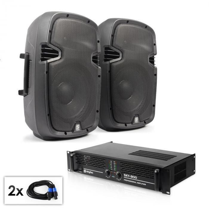 """Electronic-Star Conjunto PA """"SPJ Boom 10MKII"""" 2 altavoces de 25cm y amplificador 800W"""