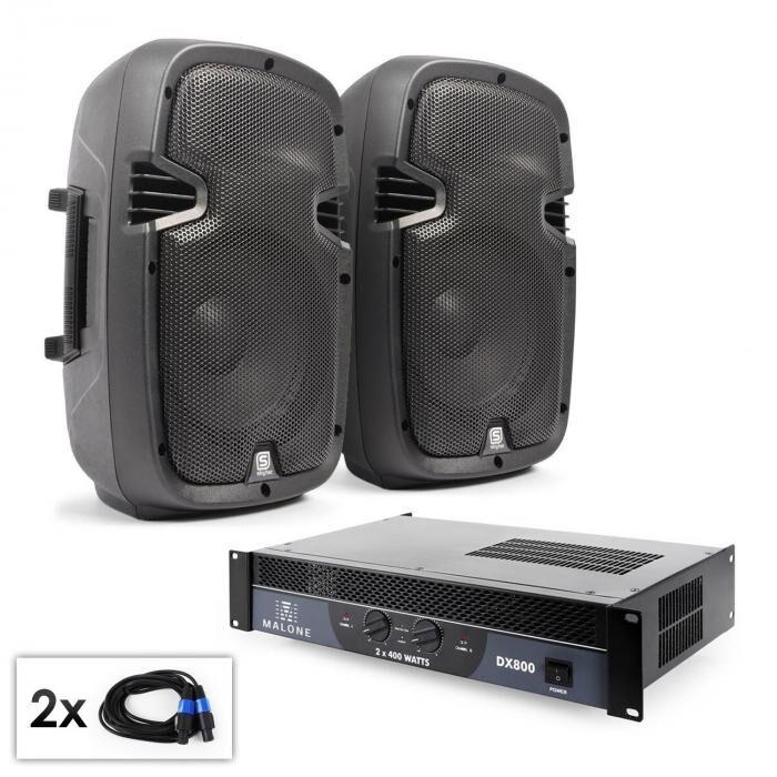 """Electronic-Star Conjunto PA """"SPJ Boom 10"""" 2 altavoces de 25cm y amplificador 800W"""