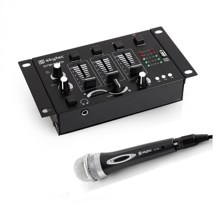 Electronic-Star Skytec Mini DJ Set 1 x Mesa de mezclas 3/2-canal1 x micrófono de mano