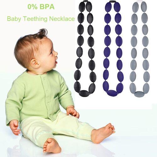 Grado Labs Comida 100% grado cuentas suave de silicona dentición collar de niño del bebé mastica enfermería juguete de joyas para mamá llevar BPA libre EN71 F963 certificado del FDA