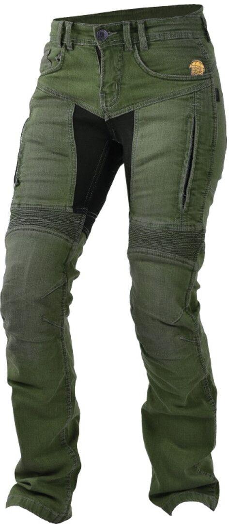 Trilobite 661 Parado Pantalones vaqueros de las señoras motos Verde Marrón 36