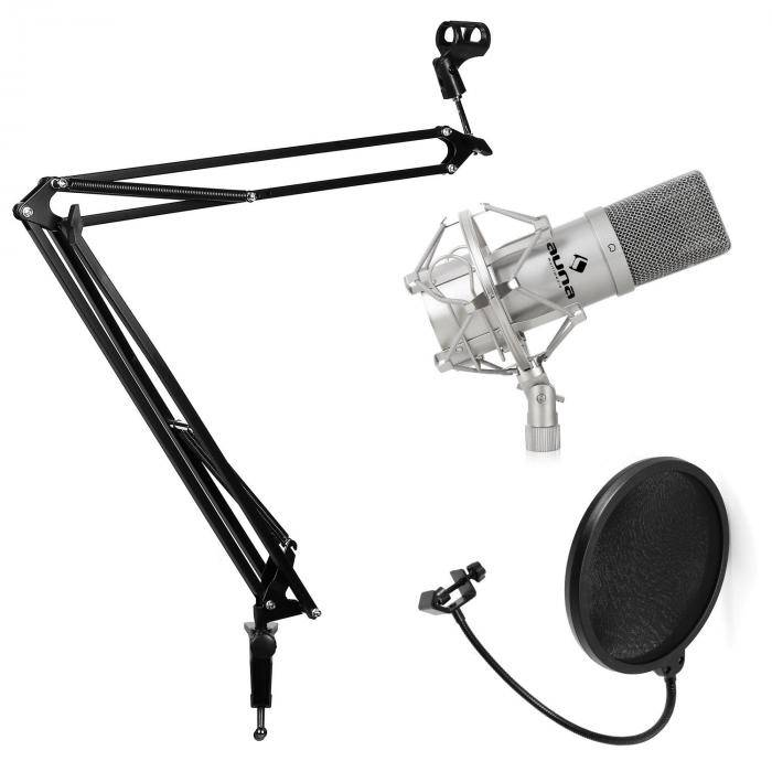 Electronic-Star Set de estudio - Micrófono USB brazo y soporte para mesa negro (PL-6515-11537-11536)