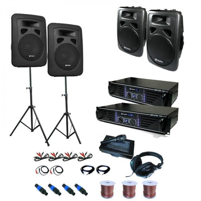 Electronic-Star Sidney Equipo PA 2 x Amplificador 4 x Altavoz