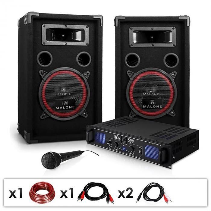 Electronic-Star DJ-14 Equipo de sonido profesional 2x 250W Amplificador, altavoces y micrófono (PL-1181-2679)
