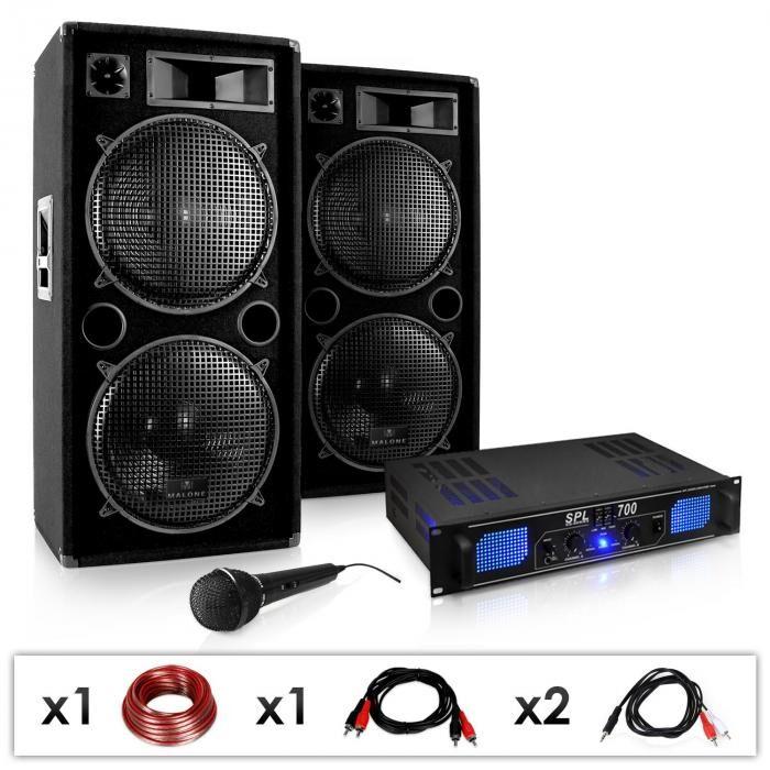 Electronic-Star DJ-26 Sonido profesional 2000W amplificador PA, altavoces, micrófono (PL-1182-0211)