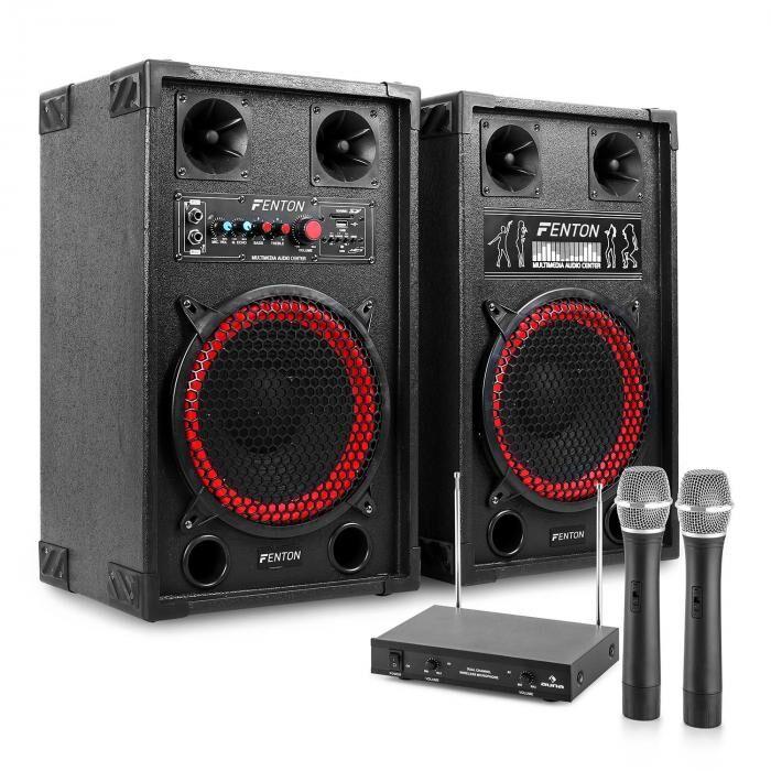 "Electronic-Star Sistema de karaoke ""STAR-Neukölln"" Altavoces PA 600W   Set de micrófonos inalámbricos VHF de 2 canales (PL-6522-2233)"