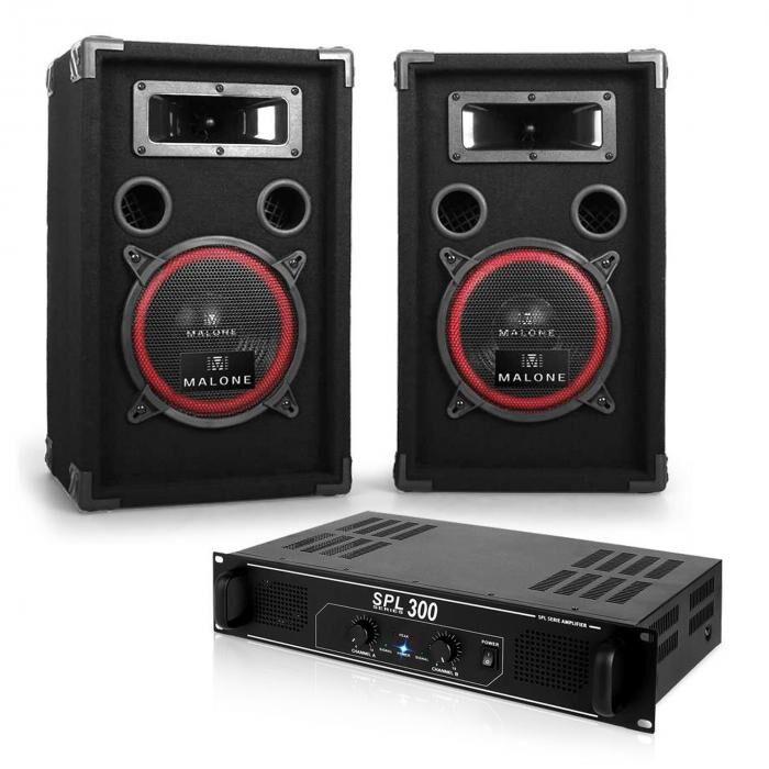 Electronic-Star Soundbash - Set PA para DJ altavoces y amplificador 300 W (PL-2679-10860)