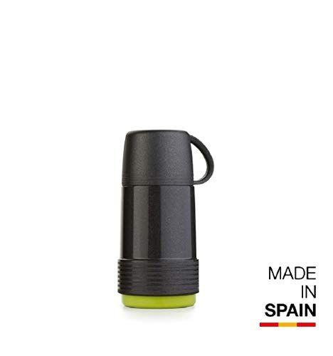 Valira 6110/128 Termo para líquidos de 0,5 L con Botella de Vidrio Aislante de Doble Pared Hecho en España, Color Negro-Verde