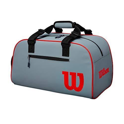 Wilson Bolso de tenis, Clash Duffle, Pequeña: 48,9 × 30,5 × 26,7 cm, Ropa, calzado y otros efectos, Gris/negro/rojo, WR8002501001