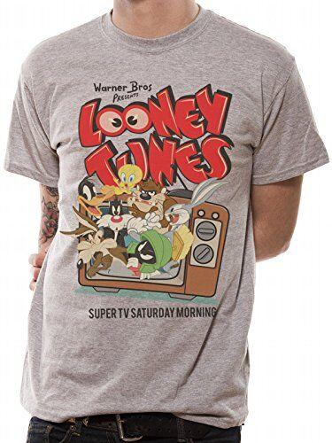 I-D-C CID Looney Tunes-Retro TV Camiseta, Gris (Sports Grey Grey), S para Hombre