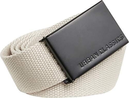 Urban Classics Belt Canvas Unisex, Hombre y Mujer, Correa de Tela, Cinturón de Cuerda sin Agujeros, con Logo en la Hebilla Cuadrada, Arena Y Negro, Talla única
